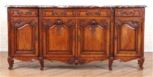 FRENCH CARVED OAK MARBLE TOP SIDEBOARD