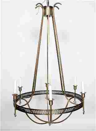 SIX ARM BRONZE NEOCLASSICAL STYLE CHANDELIER 1925