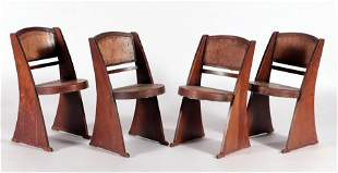 UNUSUAL PETITE SET OF 4 FRENCH OAK CHAIRS C.1940