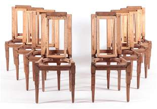 SET 8 FRENCH OAK DINING CHAIR FRAMES C.1940