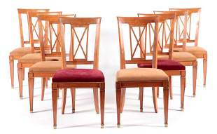 SET 8 SYCAMORE DINING CHAIRS NEOCLASSICAL STYLE