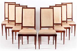 SET 8 FRENCH MAHOGANY DINING CHAIRS C.1940