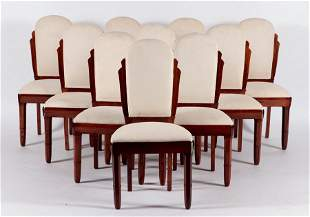 SET 10 ROSEWOOD DINING CHAIRS BY MONTAGNAC