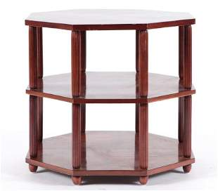 FRENCH MAHOGANY 3-TIER TABLE INLAID TOP C.1930