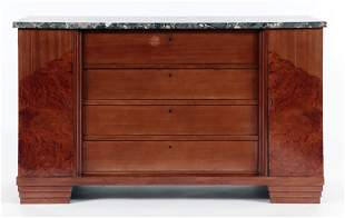 FRENCH MARBLE TOP DRESSER INLAID DOORS C.1930