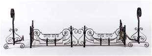 WROUGHT IRON FIRE PLACE FENDER AND ANDIRONS 1900