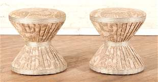 PAIR HOURGLASS FORM STOOLS OR OTTOMANS