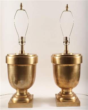 PAIR VISUAL COMFORT BRASS URN FORM TABLE LAMPS