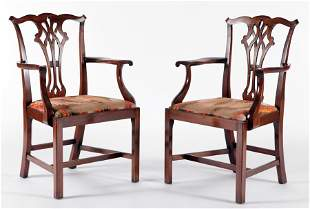 PAIR CHIPPENDALE STYLE MAHOGANY ARM CHAIRS C.1940