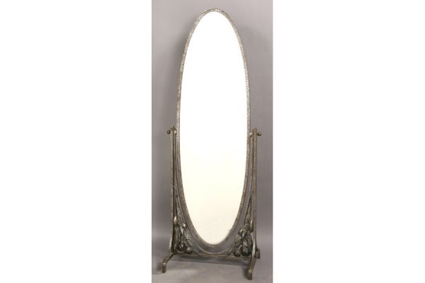 1: FRENCH WROUGHT IRON ANTIQUE CHEVAL MIRROR