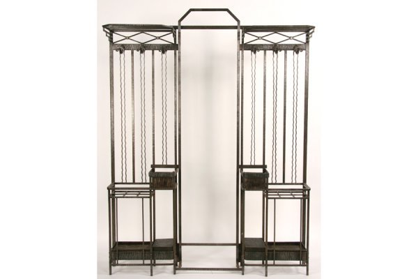 3: FRENCH ANTIQUE ART DECO WROUGHT IRON HALL RACK