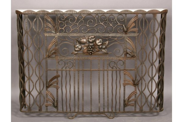 4: ANTIQUE FRENCH ART DECO WRT IRON CONSOLE TABLE