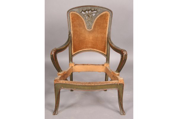 7: FRENCH ART NOUVEAU CARVED WOOD ARM CHAIR