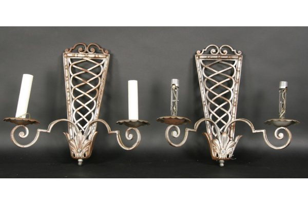 8: PAIR FRENCH ROYERE STYLE SCONCES 2 ARMS