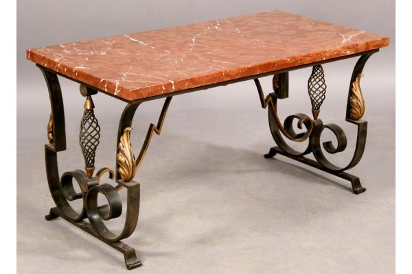 10: FRENCH POLLERIATE COFFEE TABLE MARBLE TOP