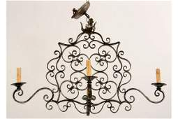 352: FRENCH WROUGHT IRON CHANDELIER 4 ARMS
