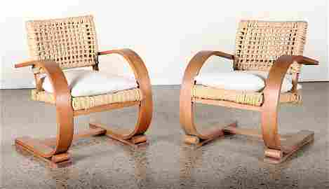 AUDOUX AND MINET PAIR BENTWOOD CHAIRS C. 1940