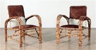 PAIR BAMBOO ARM CHAIRS ROLLED ARMS C.1950