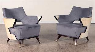 PAIR ITALIAN PARCHMENT COVERED ARM CHAIRS C.1950
