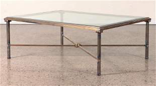 BRASS GLASS NEOCLASSICAL STYLE COFFEE TABLE 1970