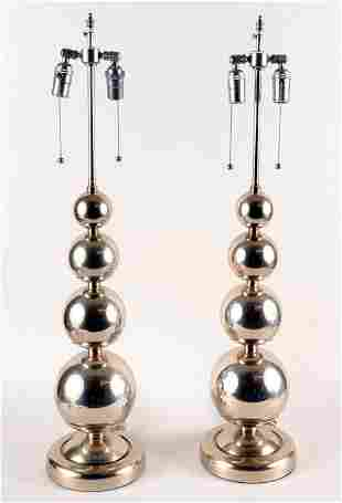 PAIR POLISHED CHROME TABLE LAMPS SPHERES C.1970