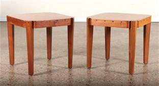 PAIR MIXED WOOD END TABLES INLAID TOPS C.1960