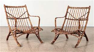 PAIR BAMBOO ARM CHAIRS CANTED BACK REST C.1950