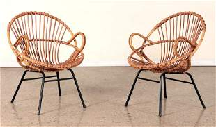 PAIR FRENCH IRON AND RATTAN ARM CHAIRS 1960