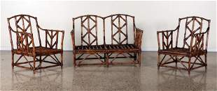 PAIR BAMBOO OPEN ARM CHAIRS AND SETTEE C.1960