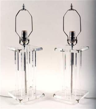 PAIR LUCITE TABLE LAMPS COLUMN FORM CHROME TRIM