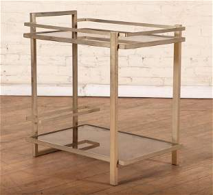 2 TIER BRONZE & GLASS MODERNIST STYLE TABLE