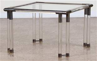 MID CENTURY MODERN BRASS LUCITE END TABLE