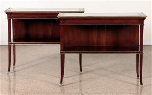 PAIR MAHOGANY MARBLE TOP CONSOLES BY JANSEN 1940