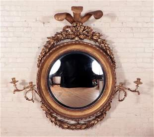 LARGE RARE 19TH C. CARVED GILT WOOD CONVEX MIRROR