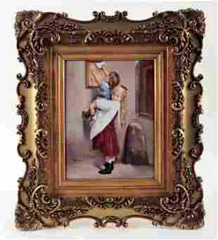 19TH C. ROYAL VIENNA PAINTING ON PORCELAIN PLAQUE