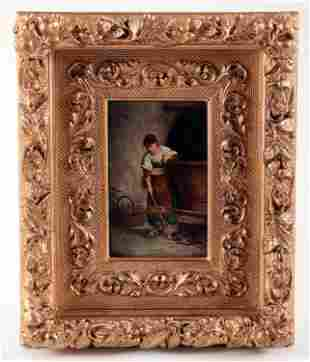 19TH C ITALIAN OIL ON BOARD PAINTING GIRL AND CAT