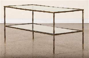 FAUX BAMBOO AND GLASS COFFEE TABLE C.1950