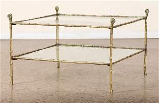 BRONZE GLASS FAUX BAMBOO COFFEE TABLE C.1940