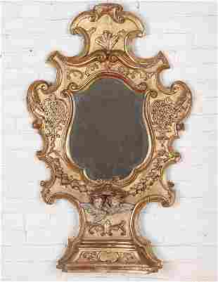 18TH C. CARVED PAINTED GILT WOOD ITALIAN MIRROR