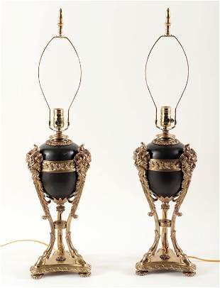PAIR FRENCH EMPIRE STYLE URNS MOUNTED AS LAMPS