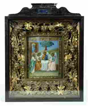 19TH C. ANTIQUE RUSSIAN ICON OF THE TRINITY