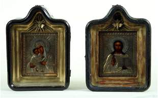 PAIR 19TH C. RUSSIAN 84 SILVER WEDDING ICONS