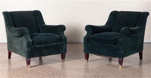 PAIR MAHOGANY EDWARDIAN STYLE CLUB CHAIRS C.1920