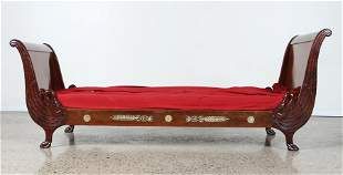 LATE 19TH C. FRENCH EMPIRE STYLE MAHOGANY DAY BED