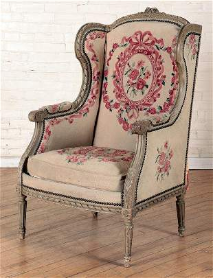PAINTED CARVED FRENCH BERGERE CHAIR C.1900