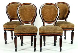 SET FOUR 19TH CENTURY INLAID SIDE CHAIRS