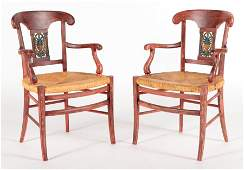 PAIR PROVINCIAL STYLE RUSH SEAT FRENCH ARM CHAIRS