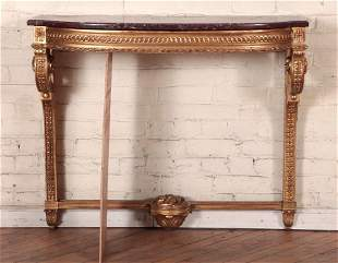REGENCY STYLE GILT WOOD MARBLE TOP CONSOLE 1940