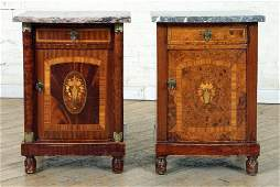 TWO SIMILAR FRENCH MARBLE TOP NIGHT STANDS