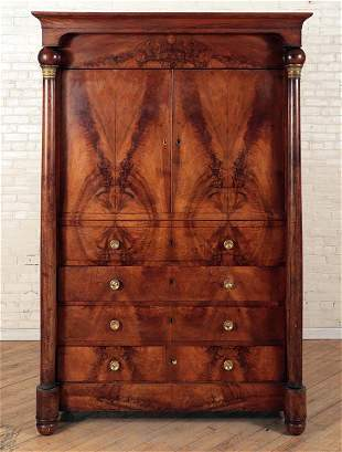 LARGE 2PT. FRECH EMPIRE BRONZE MOUNTED CABINET